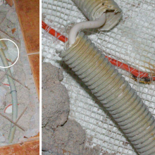 The gooseneck with the floor probe must not be in contact with the heating cables. In this case, it is crossing them, and the reinforcement of the concrete is also pressing the gooseneck against the heating cable. The left part of the photo shows a general view of the exposed area with the defect, and the right part shows in detail how the heating cable was interrupted due to overheating. Deformation of the plastic by thermal stress (melting) can be seen at the edges of the broken gooseneck.