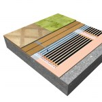 Sectional view of floating floor with underlay HEAT-PAK