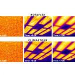 Termovizní snímky stropu s oběma typy izolací