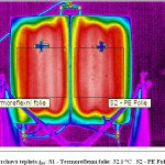 Snímek infrakamerou ukazuje, že termoreflexní folie žádné zlepšení nepřinesla. Teplota podlahy na pravé straně vzorku (s běžnou PE folií) dosáhla stejných hodnot, jako levá strana (s reflexní folií)